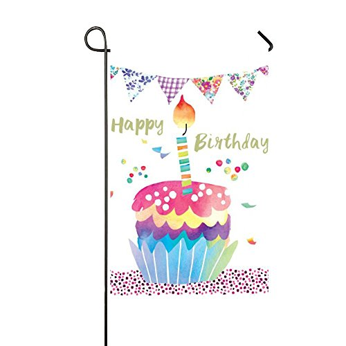 Happy Birthday Garden Flag - Small Mim Happy Birthday Sweet Cake Candles Garden Flag Holiday Decoration Double Sided Flag 12.5