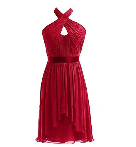 KA Beauty - Vestido - para mujer rojo oscuro