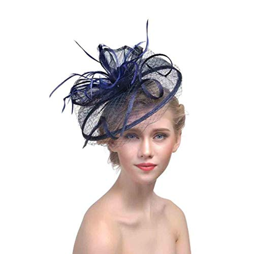 (Ladies Fascinators Hat Wedding Races Sinamay Cocktail Women Linen Feather Hat Party Fedora)