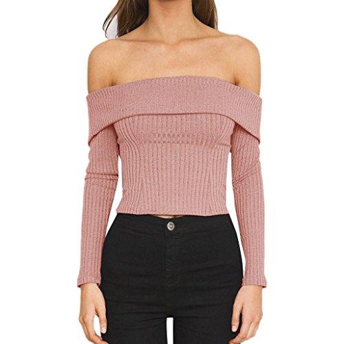 Women Blouse Daoroka Ladies Sexy Off Shoulder Knit Fold-Over Long Sleeve Shirt Fashion Elegant Cotton Casual Slim Tops (M, Pink)