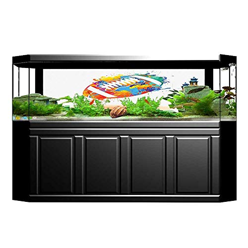 UHOO2018 Aquarium Collage Rugby Ball with Rainbow Brush Effects Filled Covered with Colors Sports Sign Leisure Paper Fish Tank Backdrop Static Cling Wallpaper Sticker 29.5