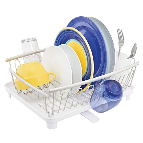 mDesign Large Modern Kitchen Countertop, Sink Dish Drying Rack - Removable Cutlery Tray & Drainboard with Adjustable Swivel Spout - 3 Pieces - Satin Wire/White Cutlery Caddy, Drainboard