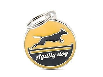 Chapa MyFamily Agility Dog Amarillo placa perro grabado gratuito costumbre gato: Amazon.es: Jardín