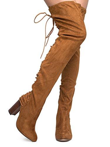 J. Adams Wunderschöne Schnürstiefelette mit Overknee - Vegan Wildleder Overknee - Trendy High Heel Schuh - Koko Tan Wildleder