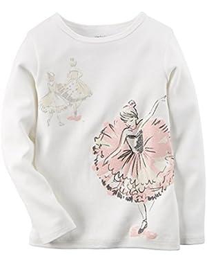 Girl's Ballerina l/s Tee, Ivory, 6m