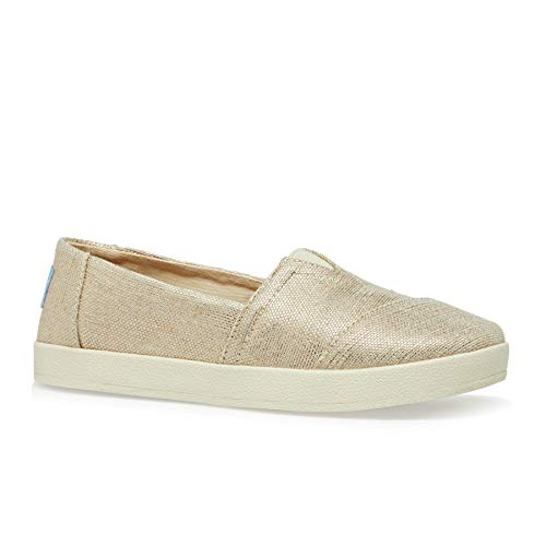 TOMS Women's Avalon Rose Gold Metallic Woven 10 B US (Red Toms Womens Shoes)