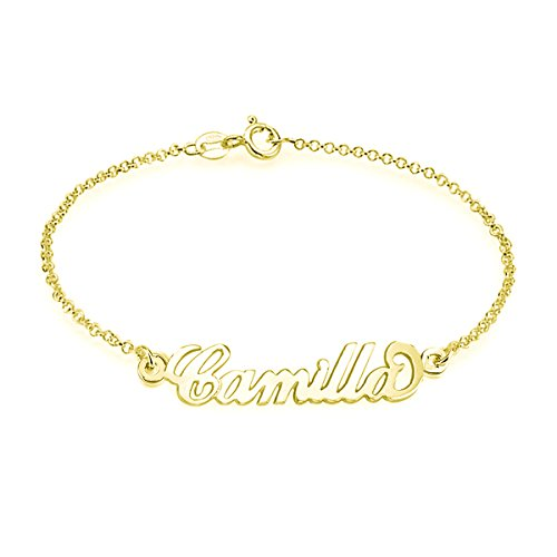 Ouslier 925 Sterling Silver Personalized Name Bracelet Custom Made with Any Names (Golden) (Best Three Person Halloween Costumes)