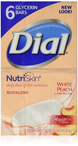 Dial NutriSkin White Peach and Shea Butter Glycerin Bar Soap 4 oz(6 Bars)