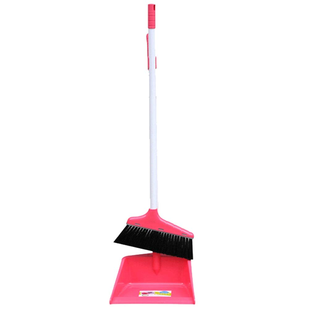 Household Soft Brush Broom And Dustpan Non-Slip Handle Multi-Function Windproof Broom Set Office Garage Schools Garden Cleaning Tools (Color : Pink) by HUABEI