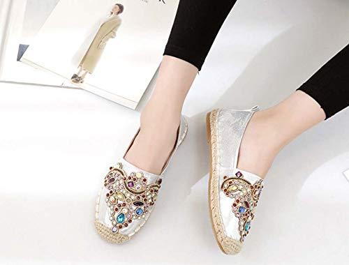 Zapatos Tejida Rhinestone Las White Paja Mujeres DANDANJIE Pescador Zapatos De Lona Cuerda De Zapatos De De Cáñamo HY7wxYUCq8