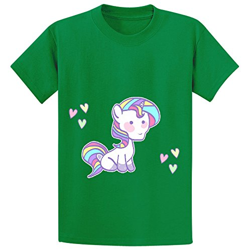 Mcol Unicorn Rainbow Cartoon Girls Crew Neck Cotton Tee Green