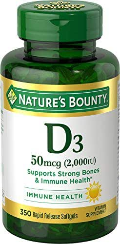 Nature's Bounty Vitamin D3 Pills and Supplement, Supports Bone Health and Immune System, 2000iu, 350 Softgels