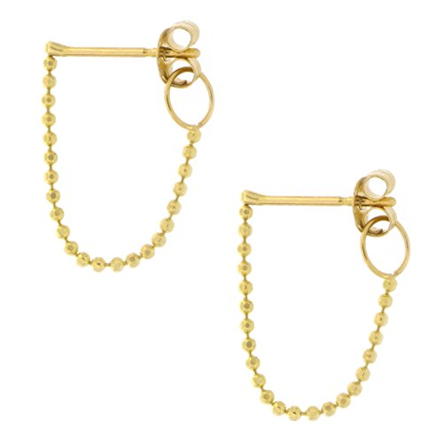 (Automic Gold Solid 14k Yellow Gold Chain Loop Earrings)