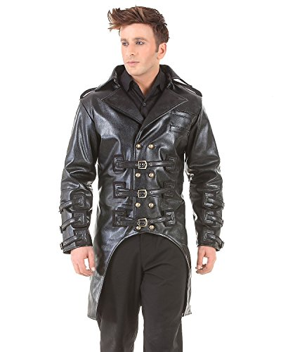 Post Apocalyptic Steampunk Gothic Mens Costume Trench Coat (Large)