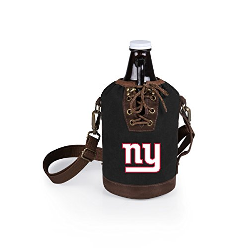 PICNIC TIME NFL New York Giants Canvas Lace-up Growler Tote with 64 oz Amber Glass Growler, Black