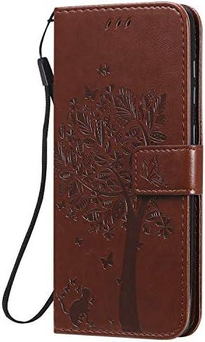 Hoesje voor Galaxy A21S PU Lederen Flip Cover Notebook Portemonnee Telefoonhoesje met Magnetische Sluiting Stand Card Houder ID Slot Folio voor Samsung Galaxy A21SEYKT020225 Bruin