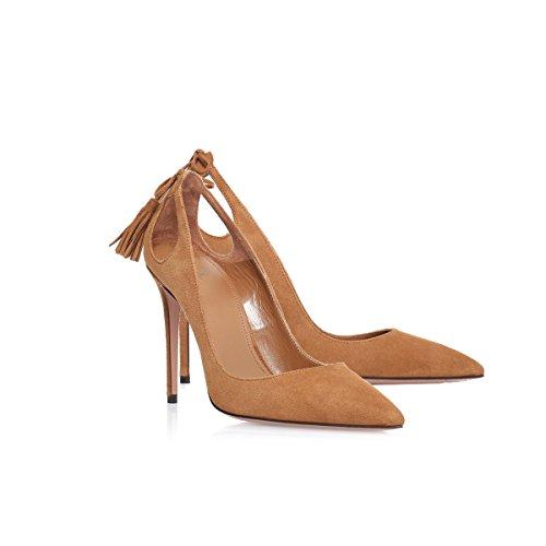 Vestido con Tacones Trabajo de XUE Mujer Fiesta Zapatos Suede Boda 43 Un Punta Formal y UN Color Noche de Verano Tamaño Aguja Zapatos Primavera 00wz4aq