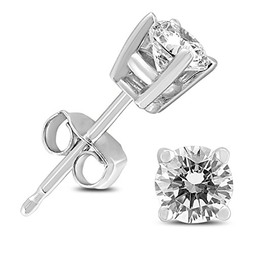 14K White Gold 1/2 Carat TW Round Diamond Solitaire Stud Earrings