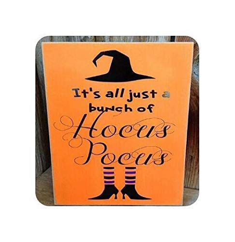 bawansign Wood Plaque Decor Hocus Pocus Witch Outline Sign Fall Themed Halloween Rustic Autumn Quotes Sayings Hand Painted Wall Hanging Wooden -