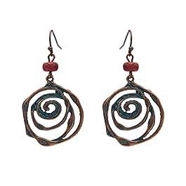 YAZILIND Women Bohemian Dangle Drop Earrings Ethnic Vintage Statement Green Turquoise Hollow Disc Retro Ear Jewellery