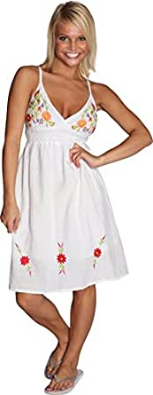 Alki'i spaghetti strap embroidered daisy coverup sundress - White X-Large