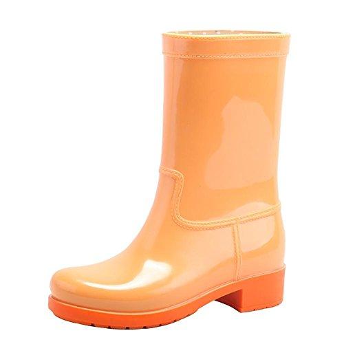 Pfützen Gummistiefel Mittlere Damen Orange Rutschfest Mehrfarbig Achse Wasserdicht SYYAN pqv5w