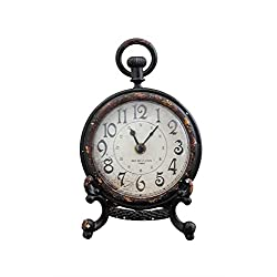 Creative Co-op Bistro Pewter Table Clock with Stand, 6.5-Inch, Black