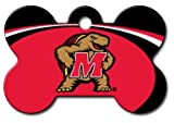 Personalized Laser Engraved 1.5 x 1 Inch Maryland Terrapins Bone Shaped Pet ID Tag - Free Tag Silencer