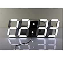 Uniqstore Multifunctional Hollow Jumbo LED Digital Wall Clock with Remote Control, Large Calendar and Temperature, Count up, Countdown Timer for Home/Airport/Gymnasium(black Shell White Digital)