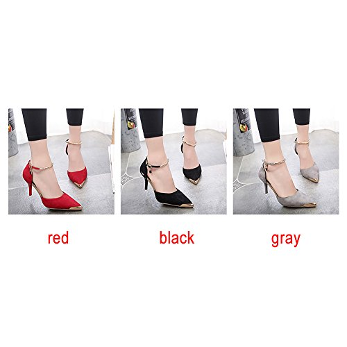 Hinmay Women's Trendy Ankle Strap Pointed Toe Faux Suede High Stiletto Heeled Pumps Shoes Gray q2nPoBm
