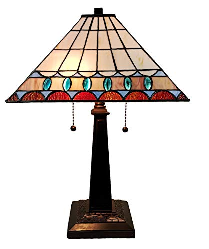 """Amora Lighting Tiffany Style Table Lamp Banker Mission 21"""" Tall Stained Glass Blue Tan Brown Green Vintage Antique Light Décor Living Room Bedroom Office Handmade Gift AM238TL14B, Multicolored"""