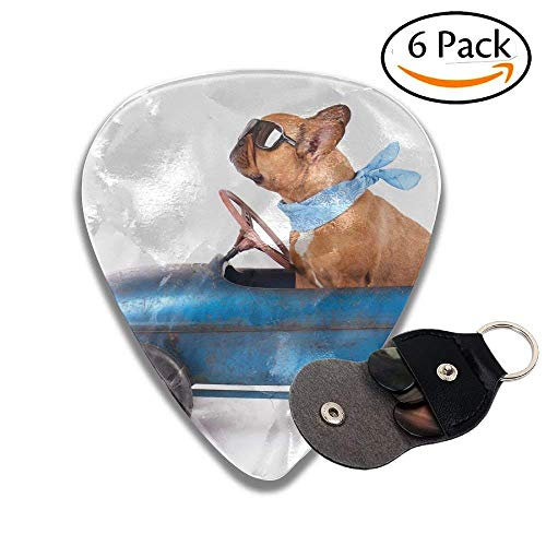 French Bulldog Enjoys A Ride In Pedal Car Isolated On White Colorful Celluloid Guitar Picks Plectrums For Guitar Bass .6 Pack -