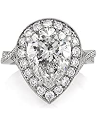 5.36ct Pear Shaped Diamond Engagement Ring