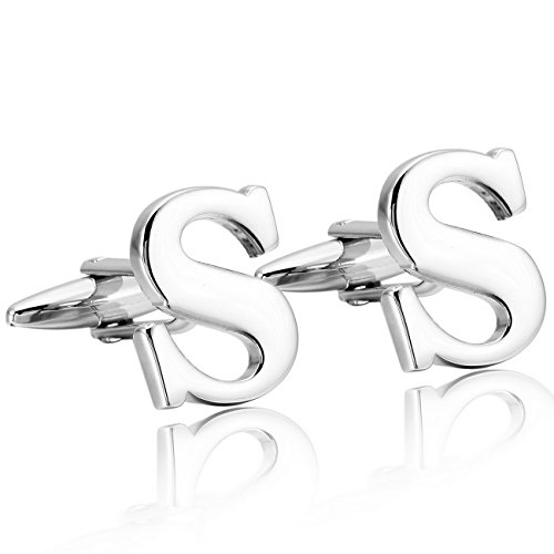MOWOM Silver Tone 2PCS Rhodium Plated Cufflinks Initial Letter Capital Alphabet S Shirt Wedding Rhodium Cufflinks Cufflink