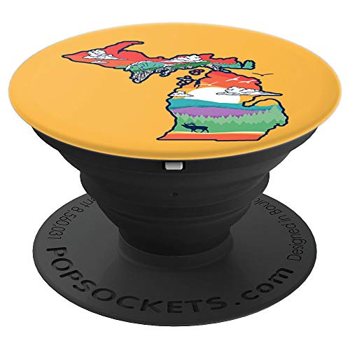 Michigan Outside Vintage Nature Illustration Artistic PopSockets Grip and Stand for Phones and Tablets