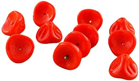 Green czech glass flower cap beads 25PC 3 petal Beads 12x9mm Flower cap bellflower