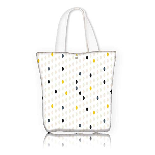 Tote Bag Shoulder Bag —W16.5 x H14 x D7 INCH/Grocery Shopping Bag for Women Girls Students House Decor Modern Style Geometric Shapes Polka Dot Tear Drop Forms Pattern Graphic Art Print Grey White Ye