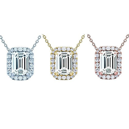 Pendentif diamant coupe émeraude Halo