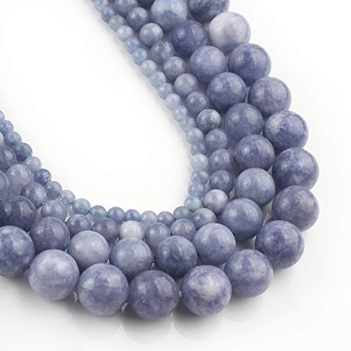 Yochus 10mm Blue Angelite Round Loose Beads Natural Stone Beads for Jewelry Making