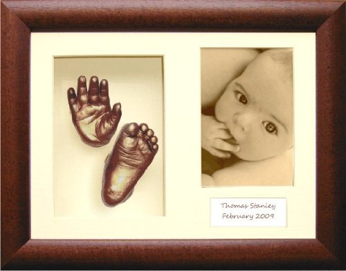 New Baby Casting Kit with Large 3D Box Display Frame in Dark Rustic & Bronze Metallic Paint by BabyRice by Anika-Baby
