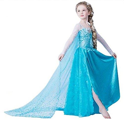 Ninimour Mächen Eiskönigin Eiskönigin Prinzessin Cosplay Fasching Kostüm Tutu Kleid 3-8 Jahre Alt (110, XX-Blau)