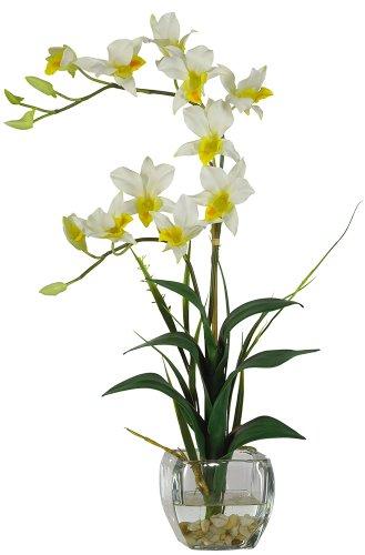 Nearly Natural 1135-CR Dendrobium with Glass Vase Silk Flower Arrangement, Cream