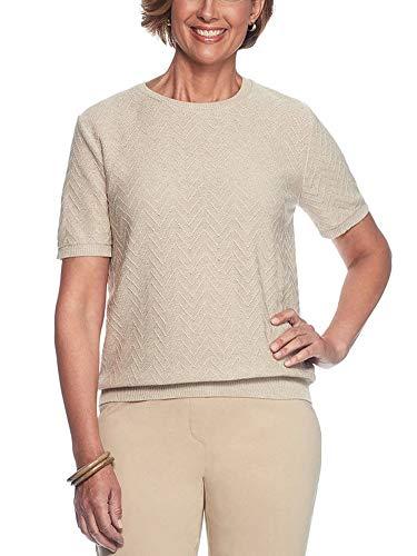 - Alfred Dunner Women's Classics Solid Short Sleeve Sweater Shell, Tan, Medium