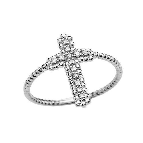14k White Gold Dainty Diamond Cross Beaded Index Ring(Size 9)