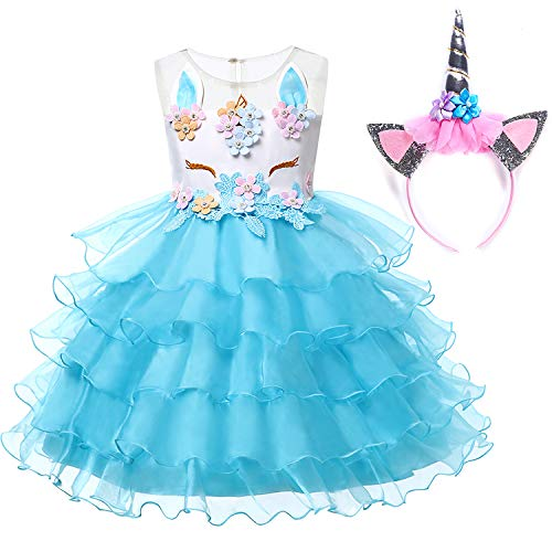 Muababy Baby Girl Unicorn Costume Pageant Flower Princess Party Dress with Headband (9-10 Years, Blue)