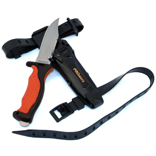 Promate Sharp Tip Titanium Dive Knife, Orange, KF593
