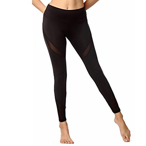 Yusano Women's Mesh Yoga Leggings Full Length Workout Gym Running Activewear(Black Mesh,XL-9906)