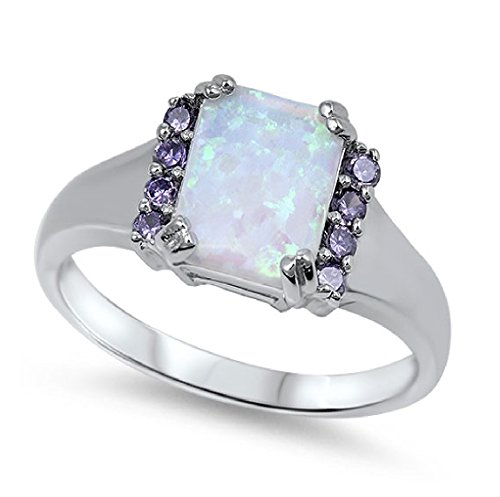 uare White Simulated Opal Simulated Amethyst Cubic Zirconia Ring 925 Sterling Silver Size 6 (Amethyst Cubic Zirconia Ring)