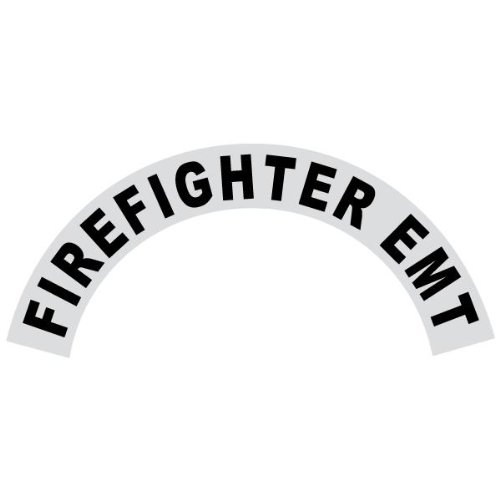 IMPORTANT NOTE: This decal is not for Petzl Helmets. 6 Pack - Firefighter EMT - Reflective Standard Helmet Black Crescent Decals
