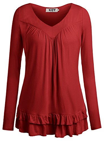 DJT Womens Sleeve Ruched Blouse